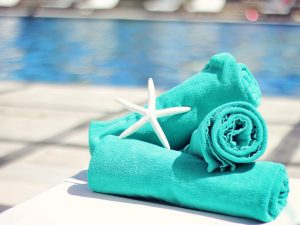 towels and starfish poolside